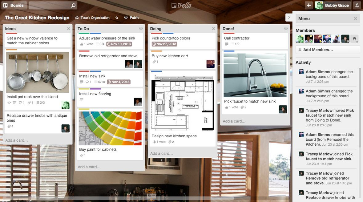 Trello Board, a recommended producitivity tool which acts as a pinterest board but aimed at teams.