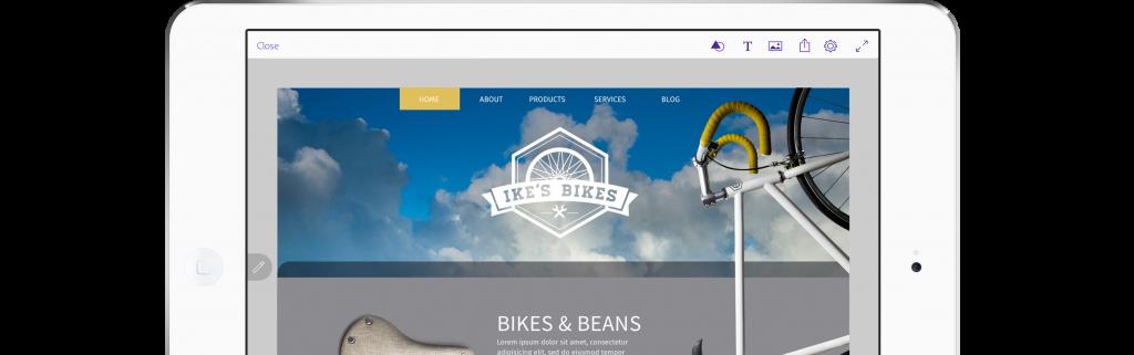 A website layout designed in Adobe Comp CC